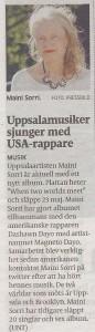 UNT Artikel 180509 Uppsalamusiker sjunger med USA-rappare